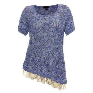 INC Asymmetrical Knit Goddess Blue Lace Trim Top